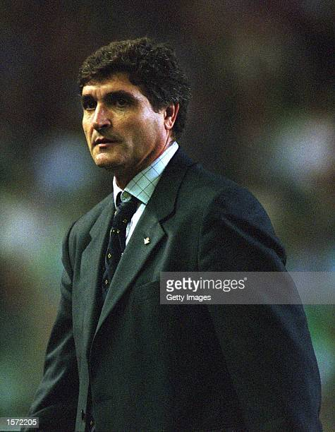Real Betis Coach Juande Ramos looks on during the Primera Liga match between Real Betis and Villarreal played at the Ruiz de Lopera Stadium in...