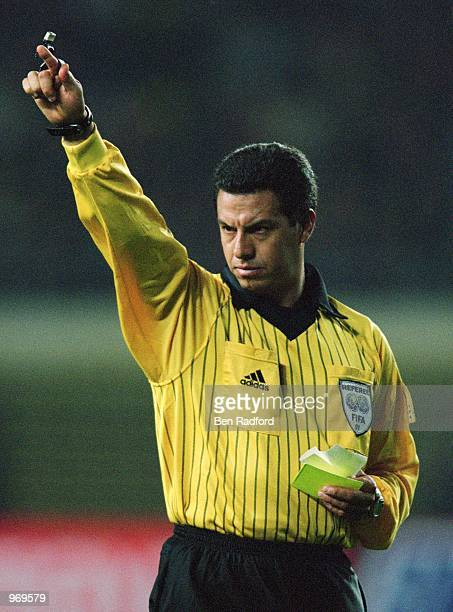 Referee Benito Archundia of Mexico in action during the FIFA 2002 World Cup Qualifier between China and Qatar played at the Wulihe Stadium in...