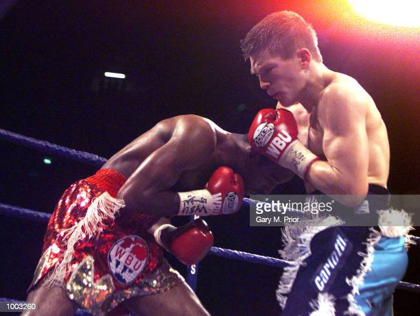 Ricky Hatton of Great Britain in action against Freddie Pendleton of USA in the WBU LightWelterweight Championship fight at the MEN Arena Manchester...