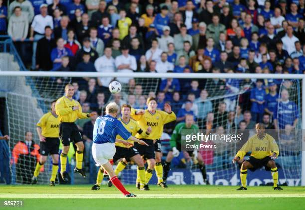 Robert Prosinecki of Portsmouth fires in a freekick during the Nationwide League Division One match between Portsmouth and Preston North End at...