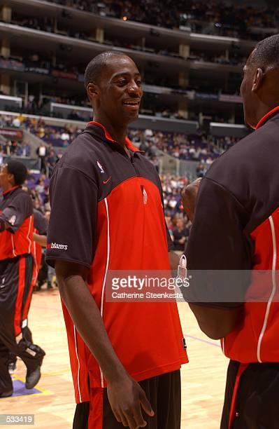 Ruben BoumtjeBoumtje of the Portland Trailblazers talks with a teammate before the game against the Lakers at Staples Center in Los Angeles...
