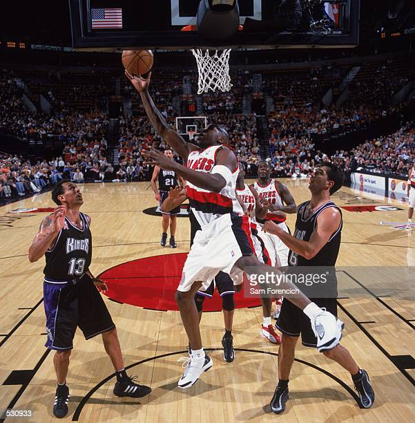 Ruben Patterson of the Portland Trail Blazers leans into his hook shot during the preseason game against the Sacramento Kings at the Rose Garden in...