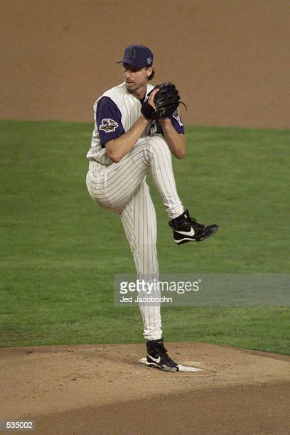 Starting pitcher Randy Johnson of the Arizona Diamondbacks throws against the New York Yankees during game two of the Major League Baseball World...