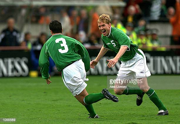 Steve Staunton of Ireland congratulates goal scorer Ian Harte during the World Cup 2002 Qualification match between Republic of Ireland and Cyprus at...