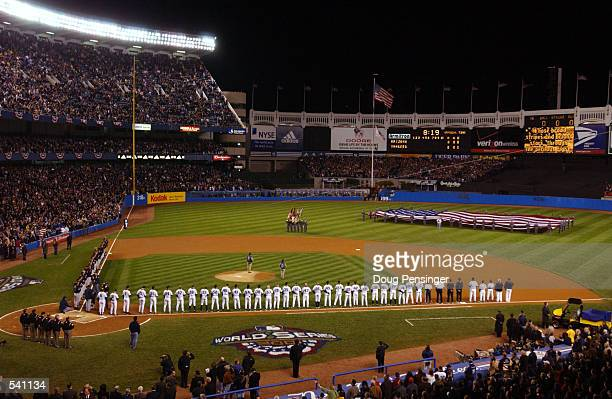 The Arizona Diamondbacks and the New York Yankees line up for introductions before game 3 of the World Series at Yankee Stadium in New York, New...