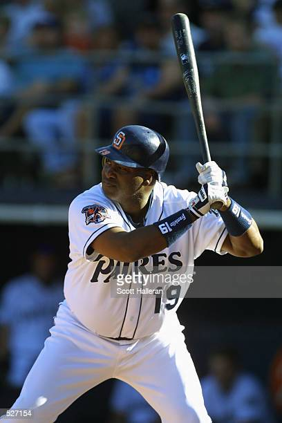 Tony Gwynn of the San Diego Padres stands at bat against the Los Angeles Dodgers at Qualcomm Stadium The Padres defeated the Dodgers 63 DIGITAL IMAGE...