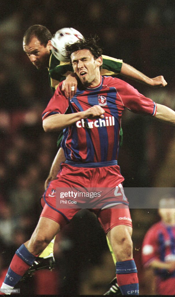 Tony Popovic of Crystal Palace is beaten in the air by Uwe Rosler of West Brom during the Nationwide League Division One match between Crystal Palace and West Bromwich Albion at Selhurst Park, London. Mandatory Credit: Phil Cole/ALLSPORT