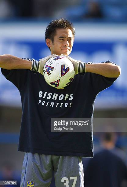 Yoshikatsu Kawaguchi the new Portsmouth goalkeeper from Japan starts his first match against Preston on the bench during the Nationwide Division One...