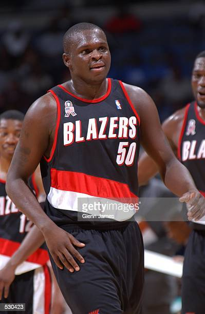 Zach Randolph of the Portland Trail Blazers looks on during the game against the Memphis Grizzlies at The Pyramid Arena in Memphis Tennessee The...