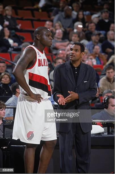 Zach Randolph of the Portland Trail Blazers receives instructions during the preseason game against the Sacramento Kings at the Rose Garden in...