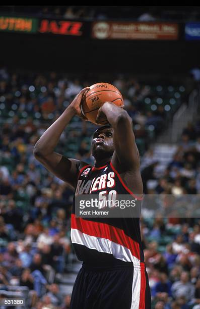 Zach Randolph of the Portland Trail Blazers shoots the ball during the PreSeason Game against the Utah Jazz at the Delta Center in Salt Lake City...