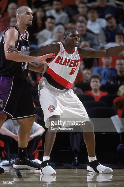 Zach Randolph of the Portland Trail Blazers stands guard during the preseason game against the Sacramento Kings at the Rose Garden in Portland Oregon...