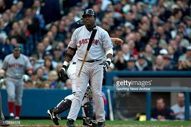 David Ortiz of the Boston Red Sox flips his bat away after striking out during the Sox's 96 victory over the New York Yankees in game 6 of the ALCS...