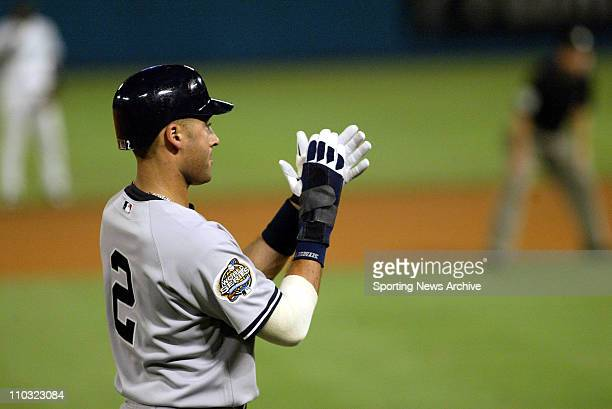 Derek Jeter of the New York Yankees during the Yanks' 61 victory over the Florida Marlins in game 3 of the World Series at Pro Player Stadium in...