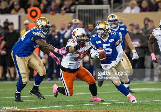 Oct 2014 Lions David Menard chases Bombers Drew Willy during the BC Lions vs the Winnipeg Blue Bombers game at the Investors Group Field in Winnipeg...