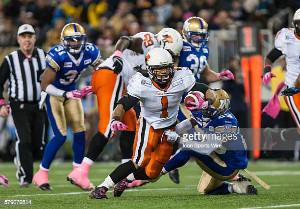 Oct 2014 Lions Keola Antolin runs with the ball during the BC Lions vs the Winnipeg Blue Bombers game at the Investors Group Field in Winnipeg MB.