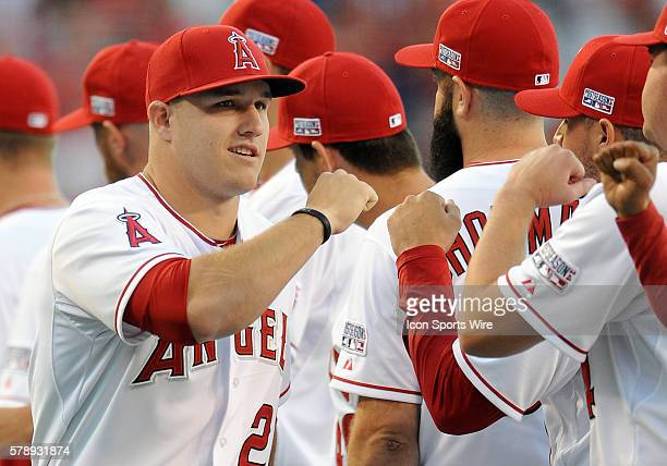 Los Angeles Angels of Anaheim Mike Trout takes the field during player introductions before ALDS game one against the Kansas City Royals played at...