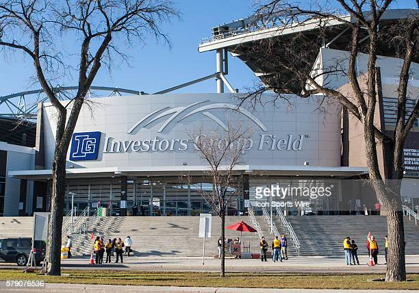Oct 2014 The entrance to Investors Group Field before the BC Lions vs the Winnipeg Blue Bombers game at the Investors Group Field in Winnipeg MB.