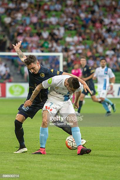 Corey Gameiro of Melbourne City controls the ball infant of a Central Coast Mariners player during the 3rd round of the 201516 Hyundai ALeague Season...