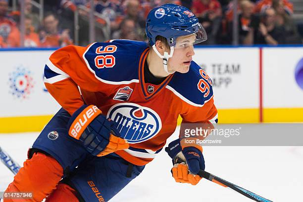 Edmonton Oilers rookie and 4th overall draft pick Jesse Puljujarvi in his first ever NHL regular season game during the Calgary Flames versus the...