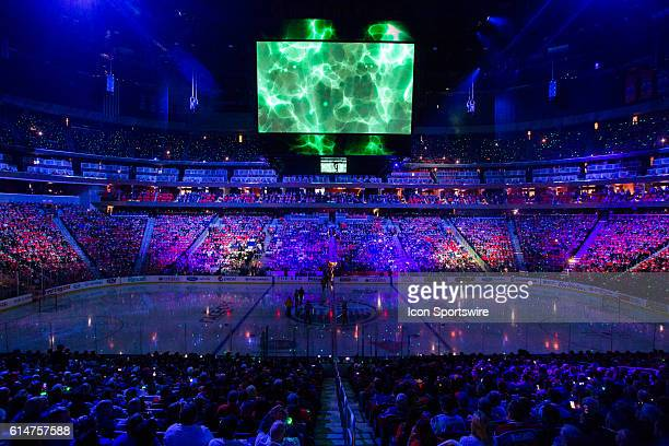 Opening ceremony celebrations for the Edmonton Oilers 2016/17 season opener hockey game in Rogers Place in Edmonton Alberta
