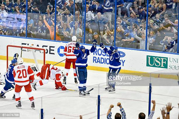 Tampa Bay Lightning left wing Alex Killorn celebrates his third period goal during an National Hockey League game between the Tampa Bay Lightning and...