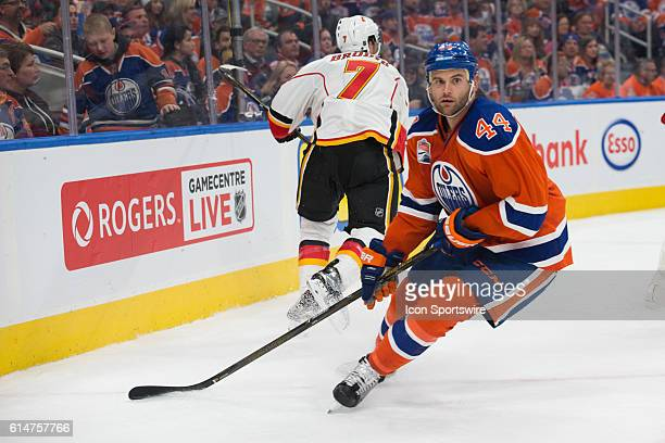 Zack Kassian of the Edmonton Oilers in action during the Calgary Flames versus the Edmonton Oilers hockey game in the 2016/17 Oilers season opener...