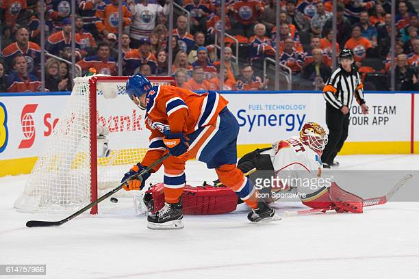 Zack Kassian of the Edmonton Oilers scores a goal during the Calgary Flames versus the Edmonton Oilers hockey game in the 2016/17 Oilers season...