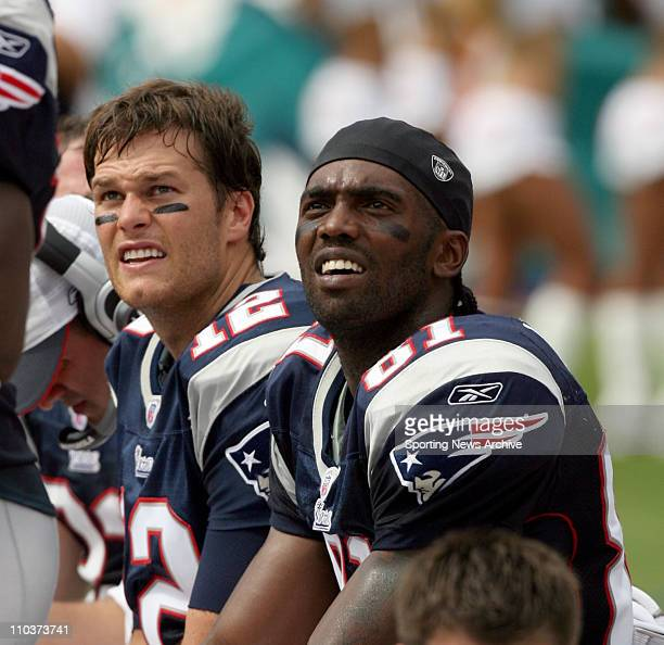 Oct 21 2007 Miami Florida USA NFL Football New England Patriots RANDY MOSS and TOM BRADY against the Miami Dolphins on Oct 21 2007 in Miami FL The...