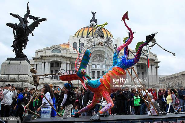 A sculpture is seen at the 10th Monumental Alebrijes Parade and Contest in Mexico City capital of Mexico on Oct 22 2016 The event was organized by...