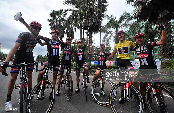 DANZHOU Oct 25 2016 Max Walscheid from Team GiantAlpecin celebrates with his teammate after the awarding ceremony after the 4th stage of the 2016...