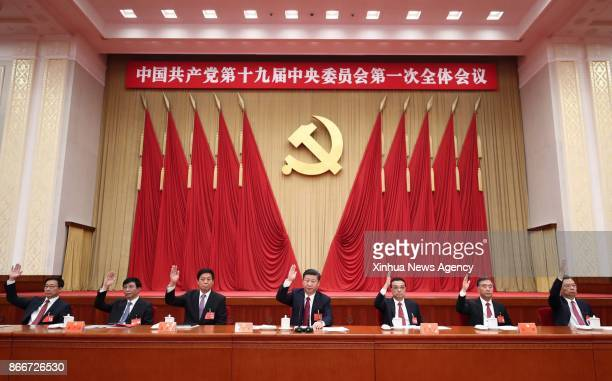BEIJING Oct 25 2017 Xi Jinping Li Keqiang Li Zhanshu Wang Yang Wang Huning Zhao Leji and Han Zheng attend the first plenary session of the 19th...