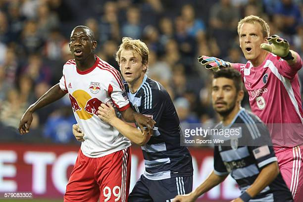 New York Red Bulls forward Bradley Wright-Phillips takes a position against the defense during a corner kick during the match between the New York...