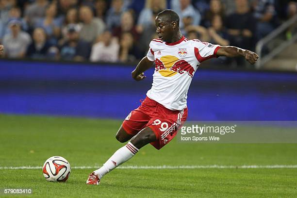 New York Red Bulls forward Bradley Wright-Phillips takes a shot on goal during the match between the New York Red Bulls and Sporting KC at Sporting...