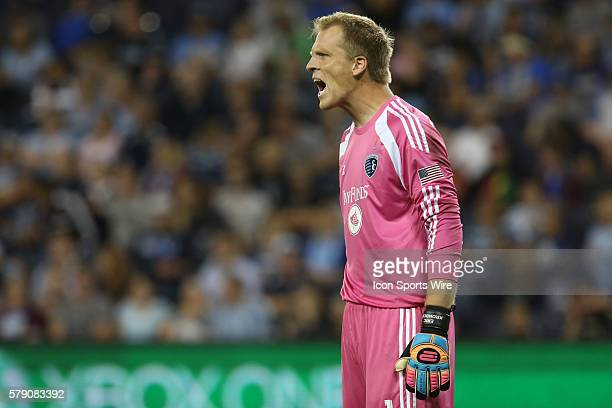Sporting KC goalkeeper Eric Kronberg during the match between the New York Red Bulls and Sporting KC at Sporting Park in Kansas City, MO. The...