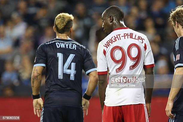 The two leading candidates for the golden boot Sporting KC forward Dom Dwyer and New York Red Bulls forward Bradley WrightPhillips have a chat during...