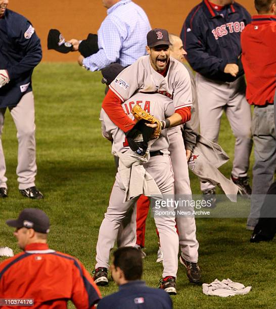 Oct 28 2007 Denver Colorado USA Colorado Rockies against the Boston Red Sox MIKE LOWELL and LUIS ALICEA at Coors Field in Denver during game four of...