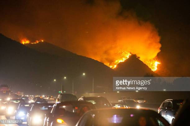LOS ANGELES Oct 28 2019 Fire is seen near Getty Center in Los Angeles the United States Oct 28 2019 Thousands of residents were forced to evacuate...