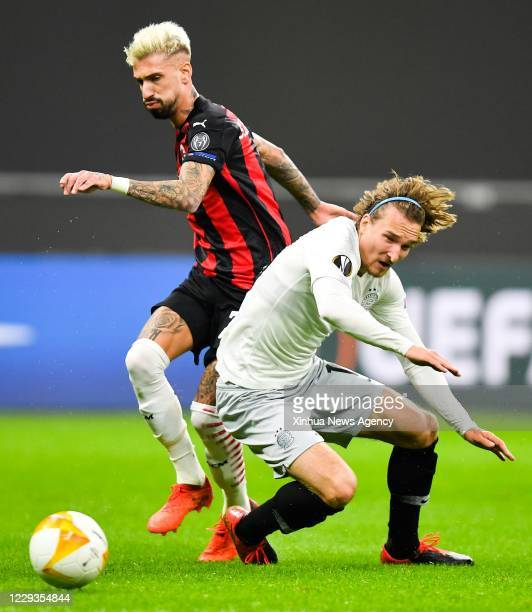 MILAN Oct 29 2020 AC Milan's Samu Castillejo L vies with Sparta Prague's Matej Hanousek during the UEFA Europa League football match between AC Milan...