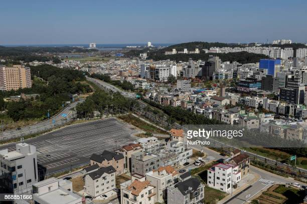 Oct 30 2017Pyeongchang South KoreaA general view Gangneung city scape view from the athlatic house top roof on October 30 2017 in Gangneung South...