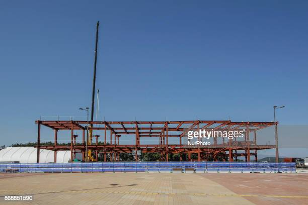 Oct 30 2017Pyeongchang South KoreaWorkers build a facility near Gangneung Hockey Centre in Gangneung South Korea the venue for ice hockey in the...