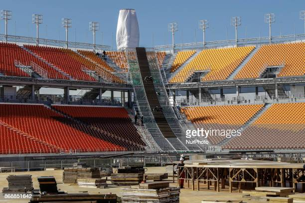 Oct 30 2017Pyeongchang South KoreaWorkers build a main stadium in Pyeongchang South Korea the venue for ice hockey in the Pyeongchang Winter Olympics...
