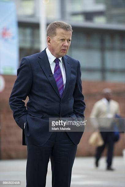 Oct. 7, 2011 - Manchester, England, UK - BBC presenter BILL TURNBULL prepares to broadcast live during the Conservatives Party Conference at...