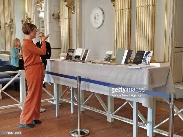 Oct. 8, 2020 -- Major works of Louise Gluck are displayed during the prize announcement at the Royal Swedish Academy of Sciences in Stockholm,...