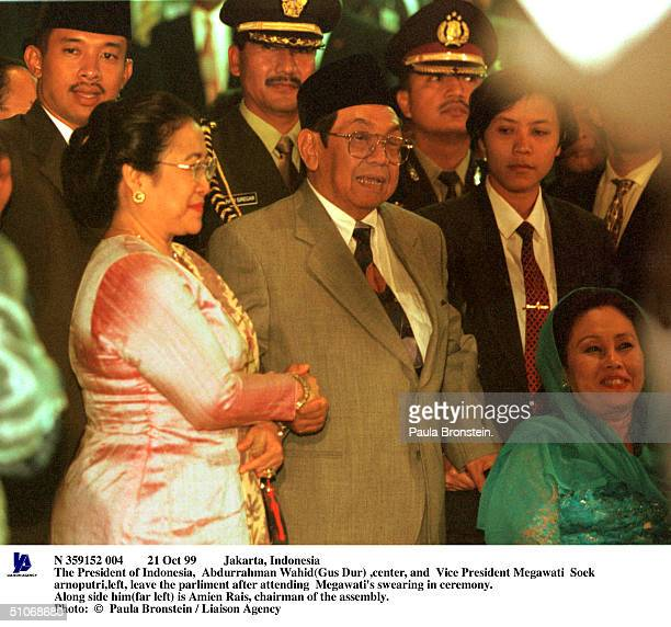Oct 99 Jakarta Indonesia The President Of Indonesia Abdurrahman Wahid Center And Vice President Megawati SoekarnoputriLeft Leave The Parliment After...