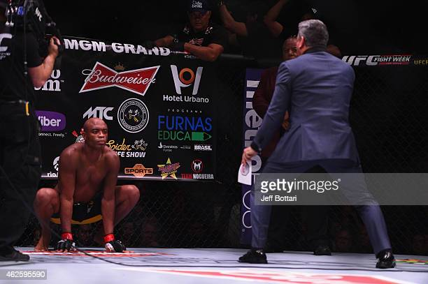 Octagon Announcer Bruce Buffer introduces Anderson Silva in their middleweight bout during the UFC 183 event at the MGM Grand Garden Arena on January...