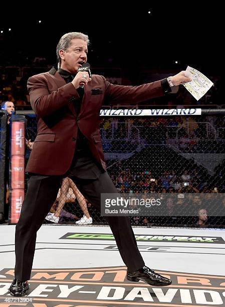 Octagon announcer Bruce Buffer introduces the fighters before the welterweight bout between Demian Maia of Brazil and Ryan LaFlare of the United...