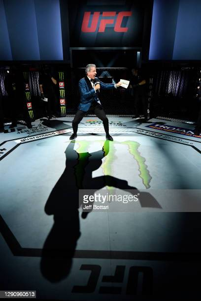 Octagon Announcer Bruce Buffer introduces the flyweight championship bout during the UFC 256 event at UFC APEX on December 12, 2020 in Las Vegas,...