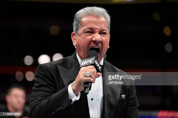 Octagon announcer Bruce Buffer introduces the main event during the UFC 238 event at the United Center on June 8 2019 in Chicago Illinois