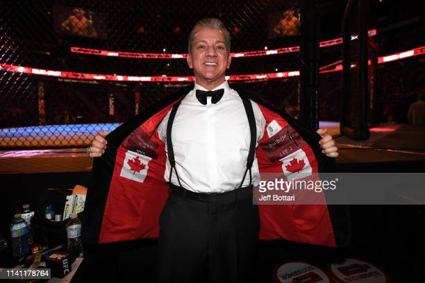Octagon announcer Bruce Buffer poses for a photo during the UFC Fight Night event at Canadian Tire Centre on May 4, 2019 in Ottawa, Ontario, Canada.